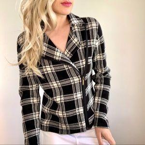 Chaps Black & Off White Plaid Sweater Jacket S